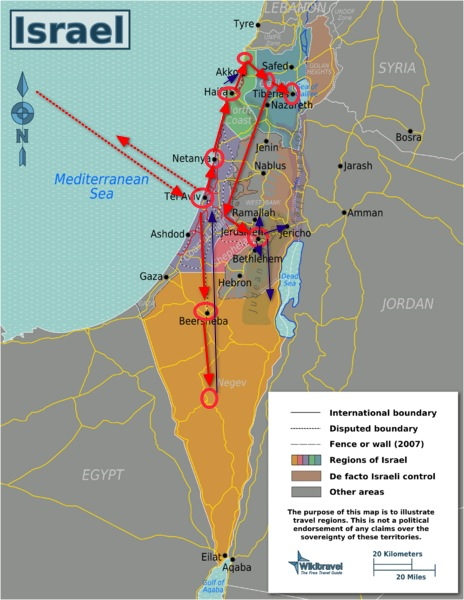 The complete tour travel route of Israel and Palestine