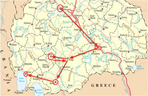complete travel route of macedonia