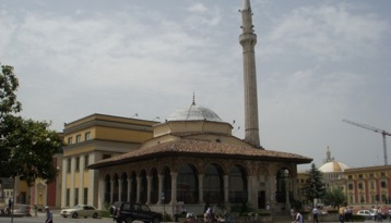 city center, mosque, tirana