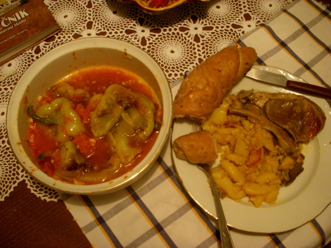 international homestay, home cooking, meat and potatoes