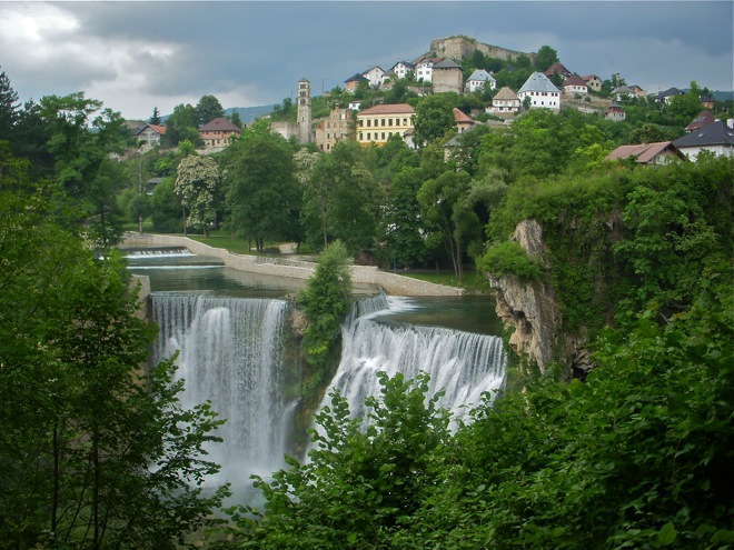 jajce waterfalls, classic waterfall picture