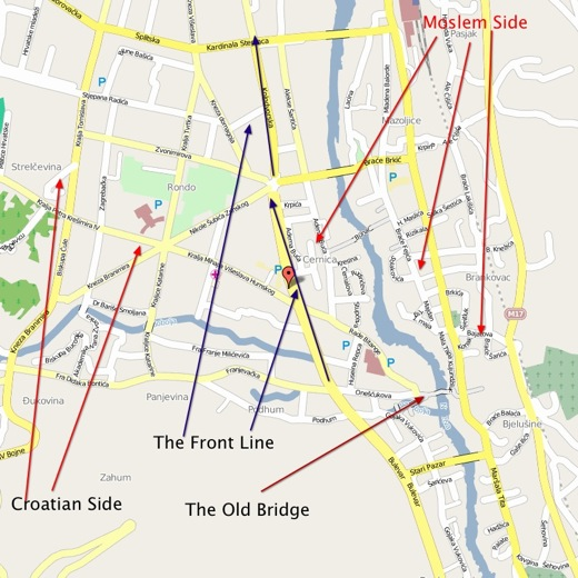 Front Line Map of Mostar