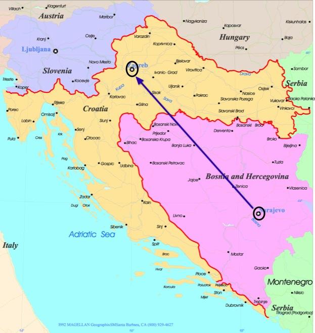 train traveling bosnia to croatia
