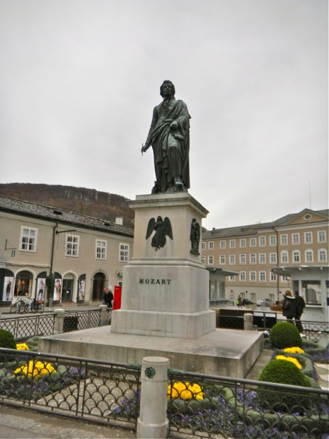 The statue of Mozart in Salzburg Austria
