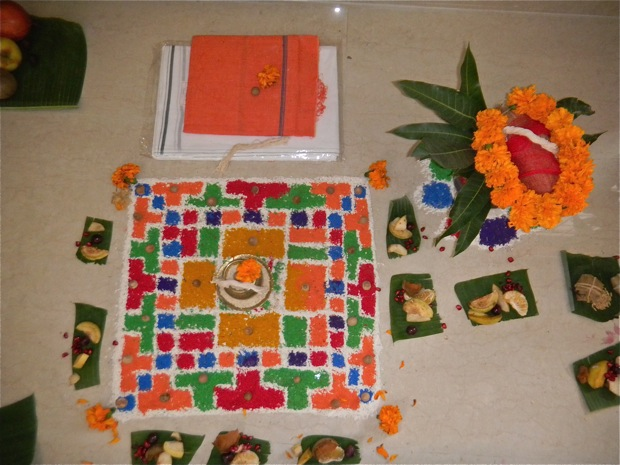 Hindu house warming floor decoration