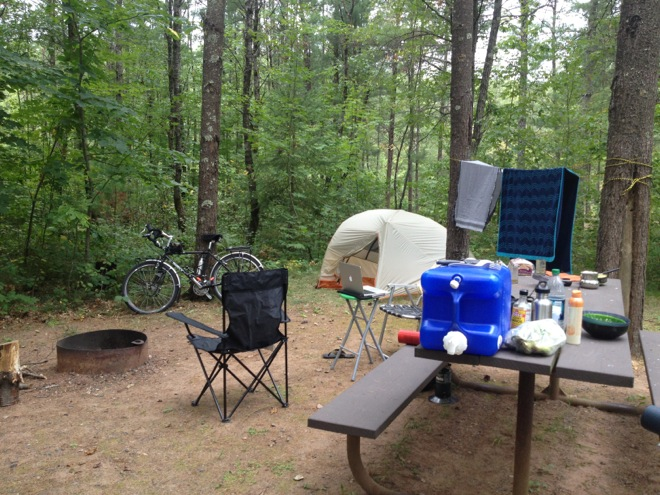 camping in a state forest of minnesota